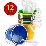 """Fun Land 5"""" Beach Pails Sand Buckets & Sand Shovels (Pack of 12)"""