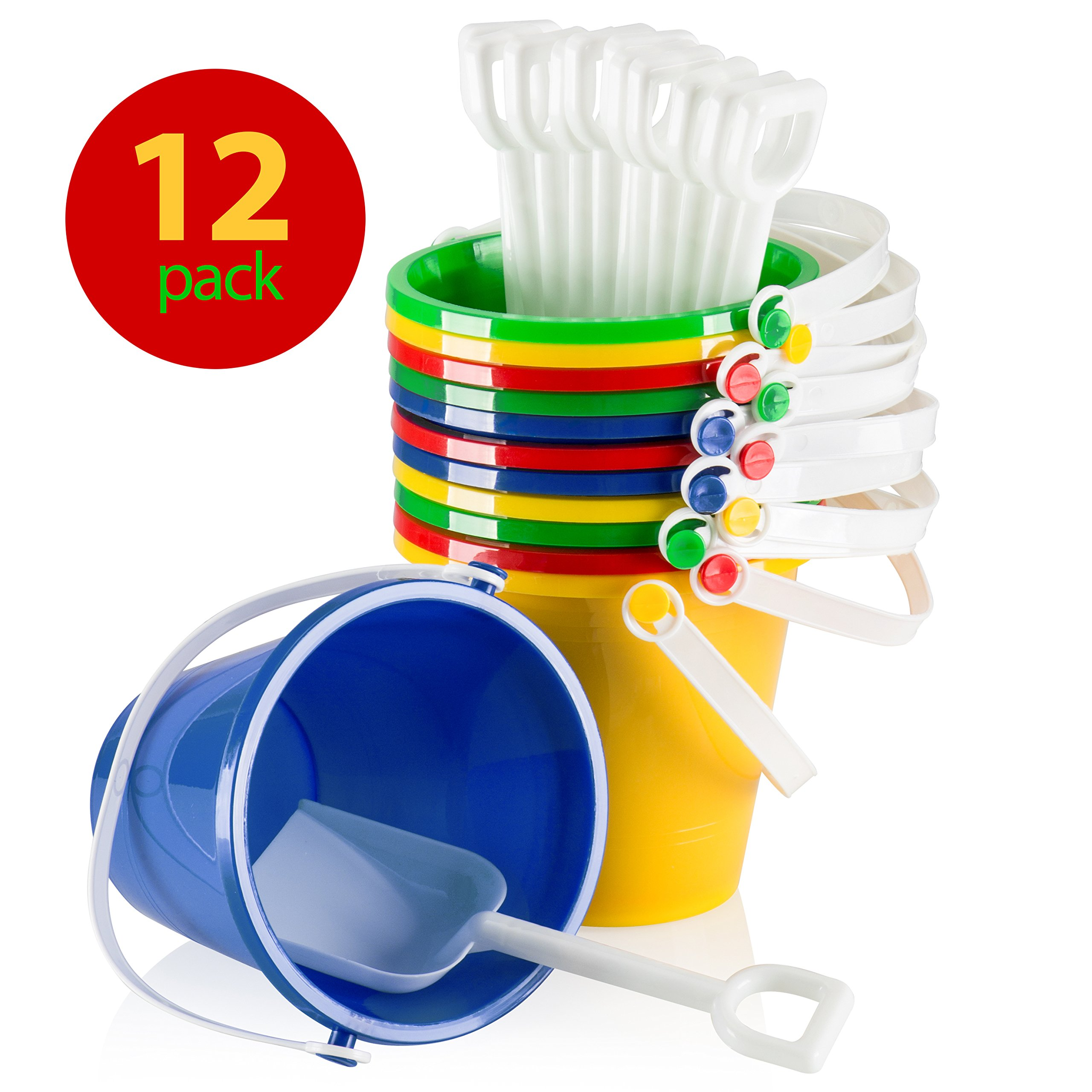 Top Race 5'' Inch Beach Pails Sand Buckets and Sand Shovels (Pack of 12)
