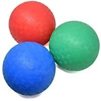 5 Inch Playground Balls, Set of 3 Mini Sports Balls for Soft Play, Rubber Dodge Balls for Indoor and Outdoor Use, Inflated Bouncy Easy Grip for Kids and Toddlers
