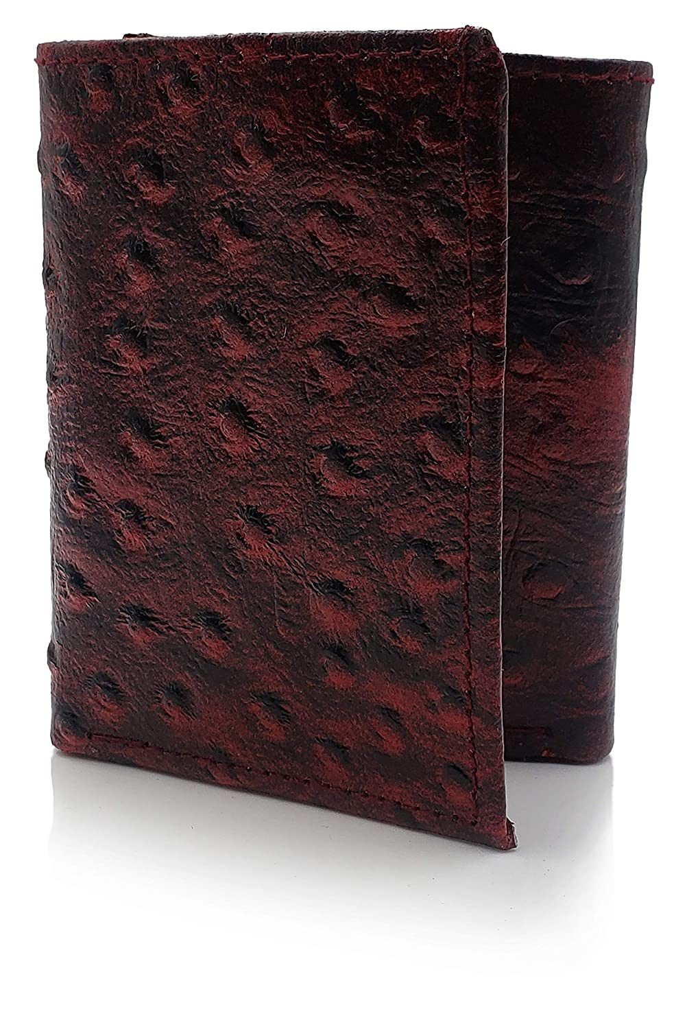 AG Wallets Genuine Leather Mens Ostrich Skin Embossed Trifold Wallet