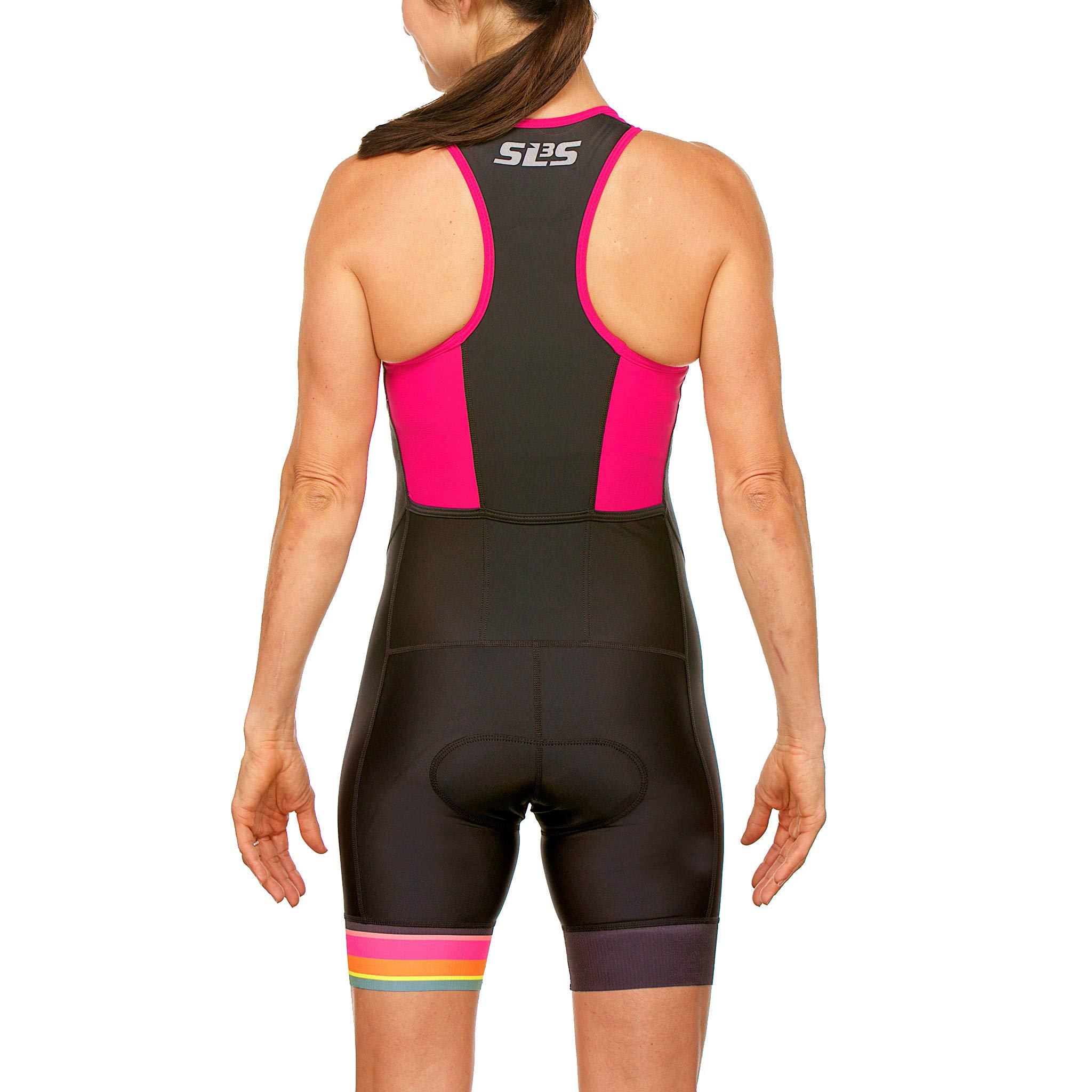 SLS3 Women`s Triathlon Tri Race Suit FRT | Womens Trisuit | Back Pocket Triathlon Suits | Anti-Friction Seams | German Designed (Black/Bright Rose, L) by SLS3 (Image #2)