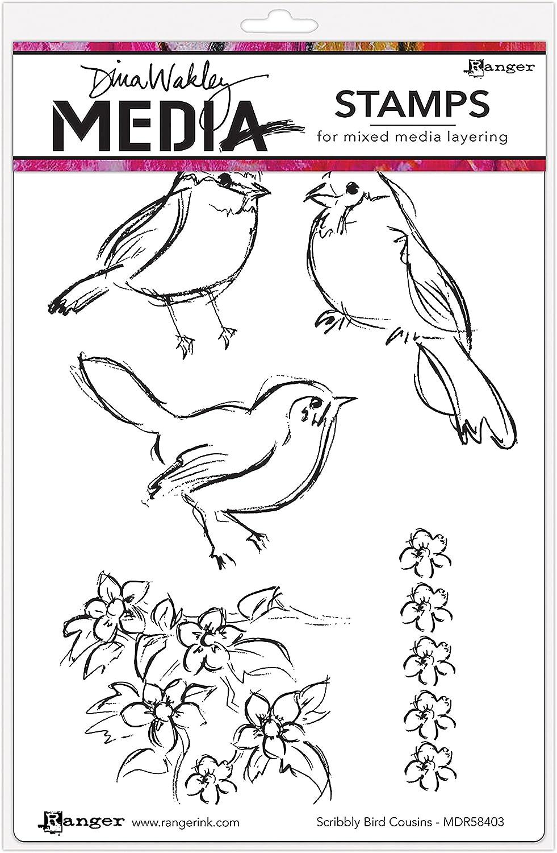 6X9 Ranger Scribbly Bird Cousins Dina Wakley Media Cling Stamps