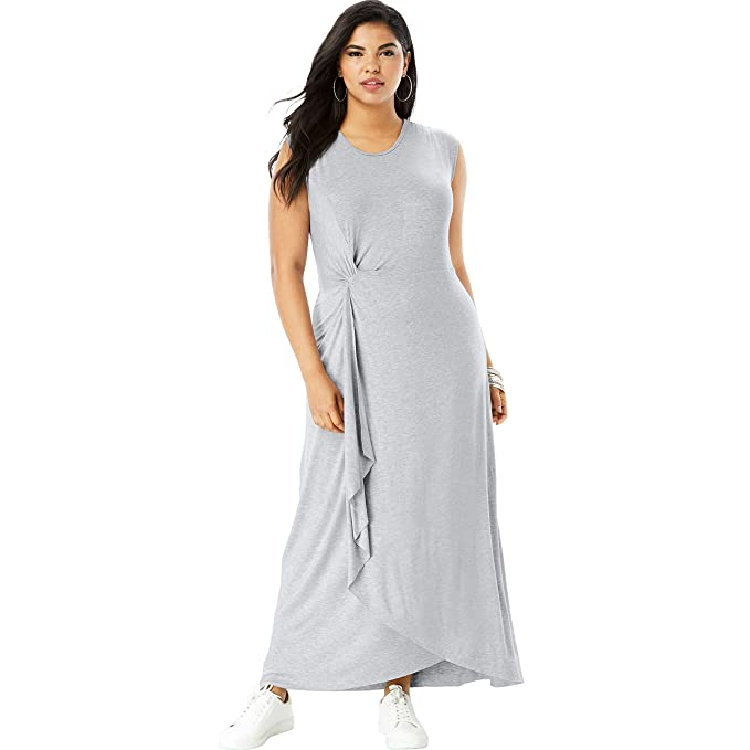 Roamans Women\'s Plus Size Side-Knot Maxi Dress with High-Low ...
