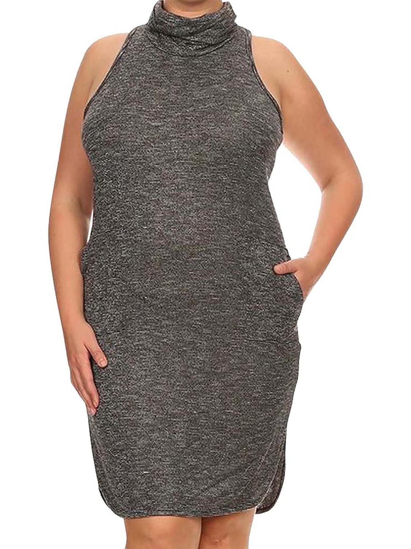 Luxury Divas Plus Size Grey Racerback Turtleneck Dress at Amazon ...