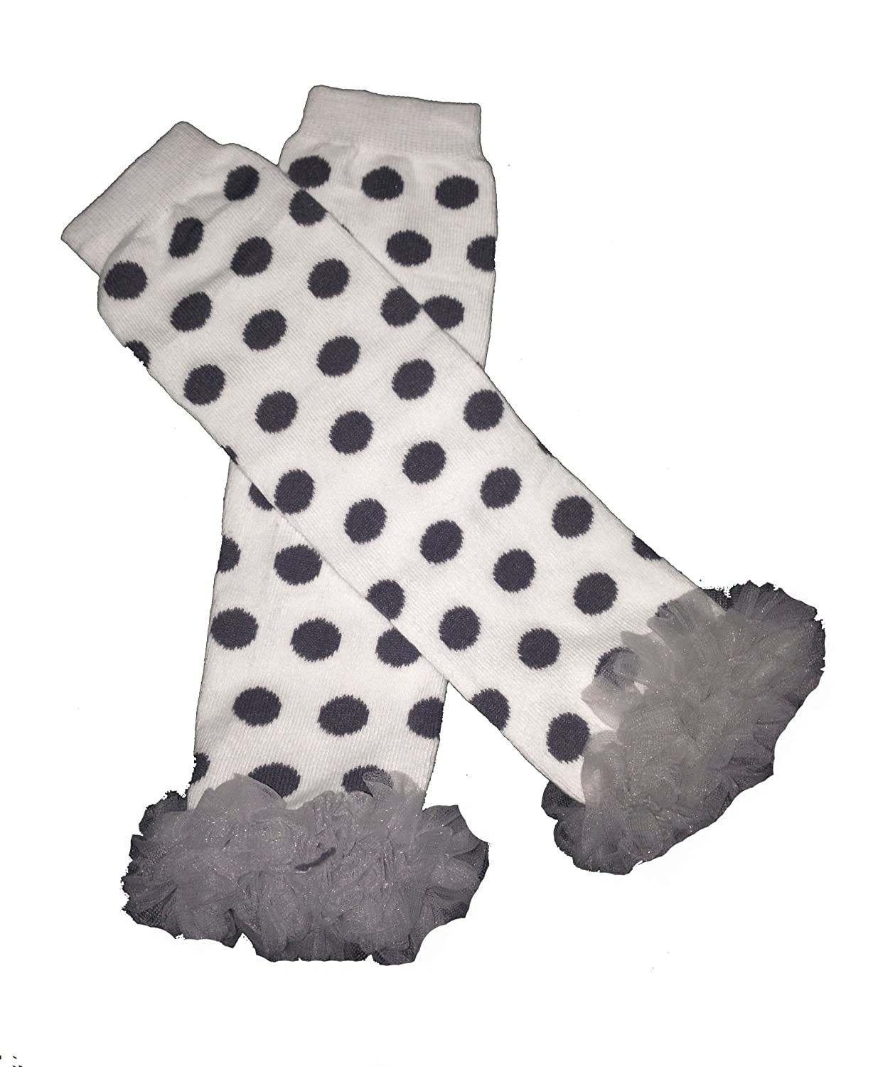 Polka Dots Set of 2 Solid Gray /& White Chiffon Ruffles Baby Leg Warmer KWC