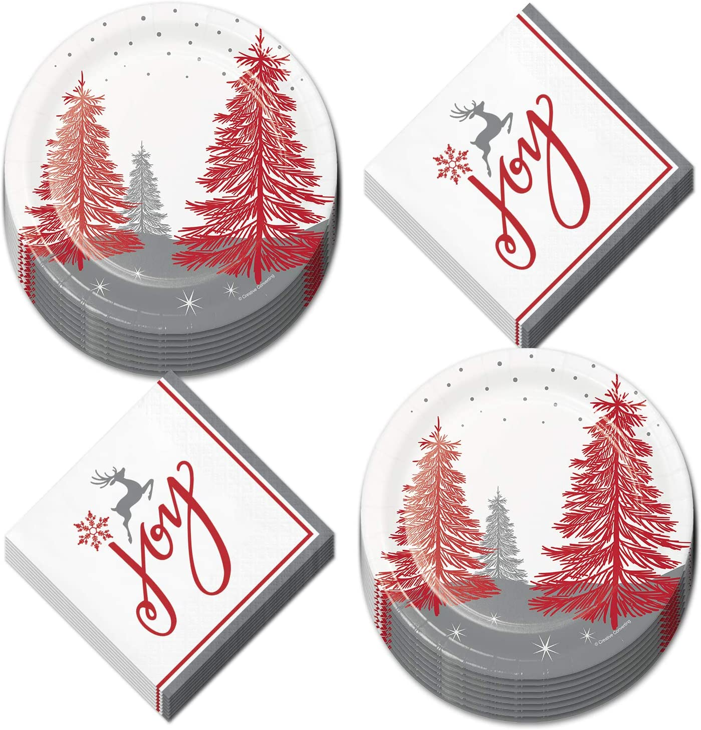 Christmas Paper Plates and Napkins - Red and Silver Merry and Bright Woodland Dessert Plates and Beverage Napkins (Serves 16)