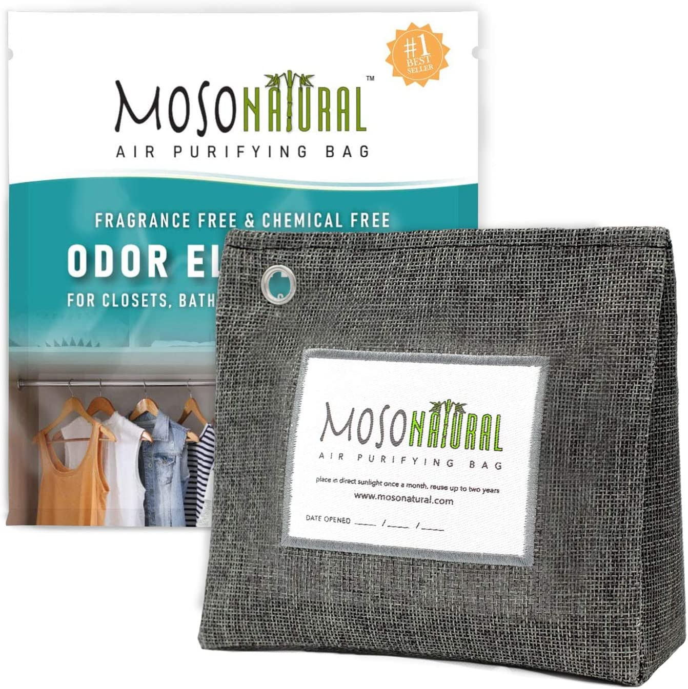 MOSO NATURAL: The Original Air Purifying Bag. 300g Stand Up Design. For Closets, Bathrooms, Pet Areas. An Unscented, Chemical-Free Odor Eliminator (Charcoal)