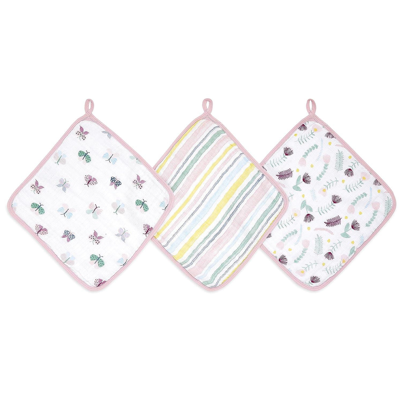100/% Muslin Cotton Bath Cloths aden Floral Super Soft anais Washcloths Set of 3