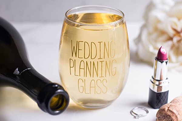 Wedding Planning Glass Stemless Wine Glass