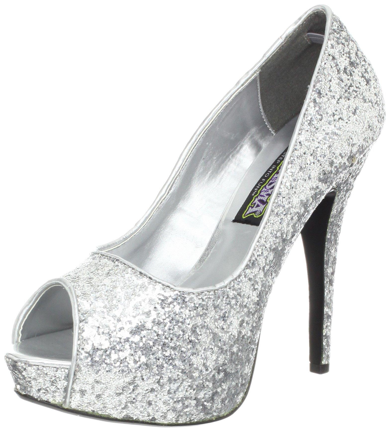 39ea5268da175 Funtasma Women's Twinkle 18G S Peep-Toe Pump,Silver Glitter,8 M US