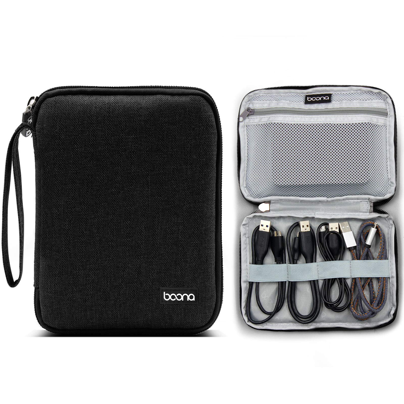 Electronic Organizer Travel Universal Cable Organizer Electronics Accessories Cases for Cable (Single Layer-Black-S)