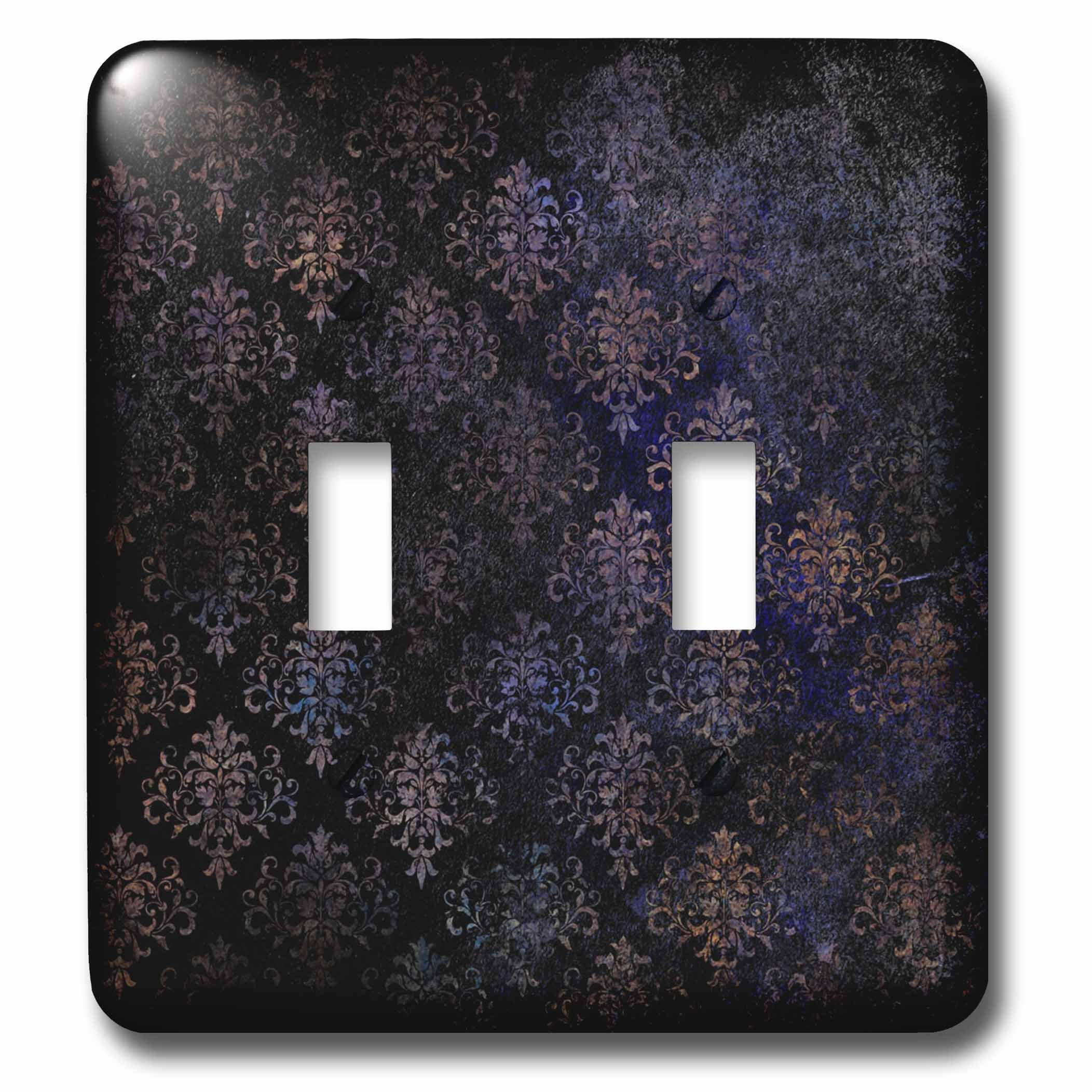 3dRose Anne Marie Baugh - Patterns - Pretty Black and Blue Grunge Diamond Damask Pattern - Light Switch Covers - double toggle switch (lsp_283181_2)