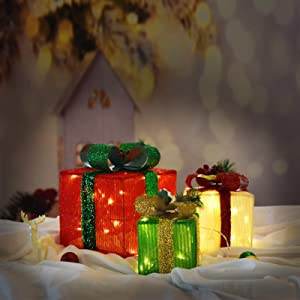 Set of 3 Christmas Lighted Gift Boxes Decorations with 48 Lights, Small Medium and Large Present Boxes for Indoor and Outdoor Yard/Lawn Use(Cloth)