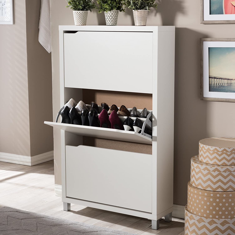 Amazon.com: Baxton Studio Simms 3 Tier Modern Shoe Cabinet, White ...