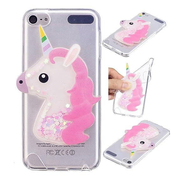on sale bd4ac 3dab0 iPod Touch 6 Case, iPod Touch 5 Case, Ranyi [Liquid Glitter Unicorn] [3D  Cute Unicorn] Clear TPU Cover + Flowing Floating Liquid Glitter 3D Unicorn  ...