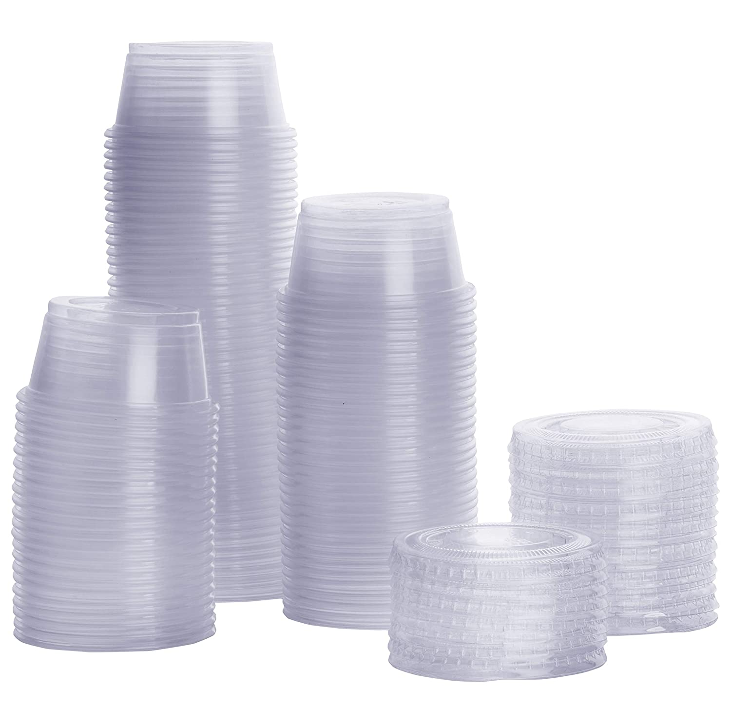 100 Sets 2 oz. Plastic Portion Cups With Lids Souffle Cups Jello Shot Cups