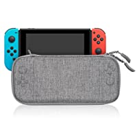 Nintendo Switch Case, Keten Portable Hard Shell Slim Travel Carrying Case Cover with 8 Game Cartridges and an Accessories Pouch for Nintendo Switch Console (Gray)