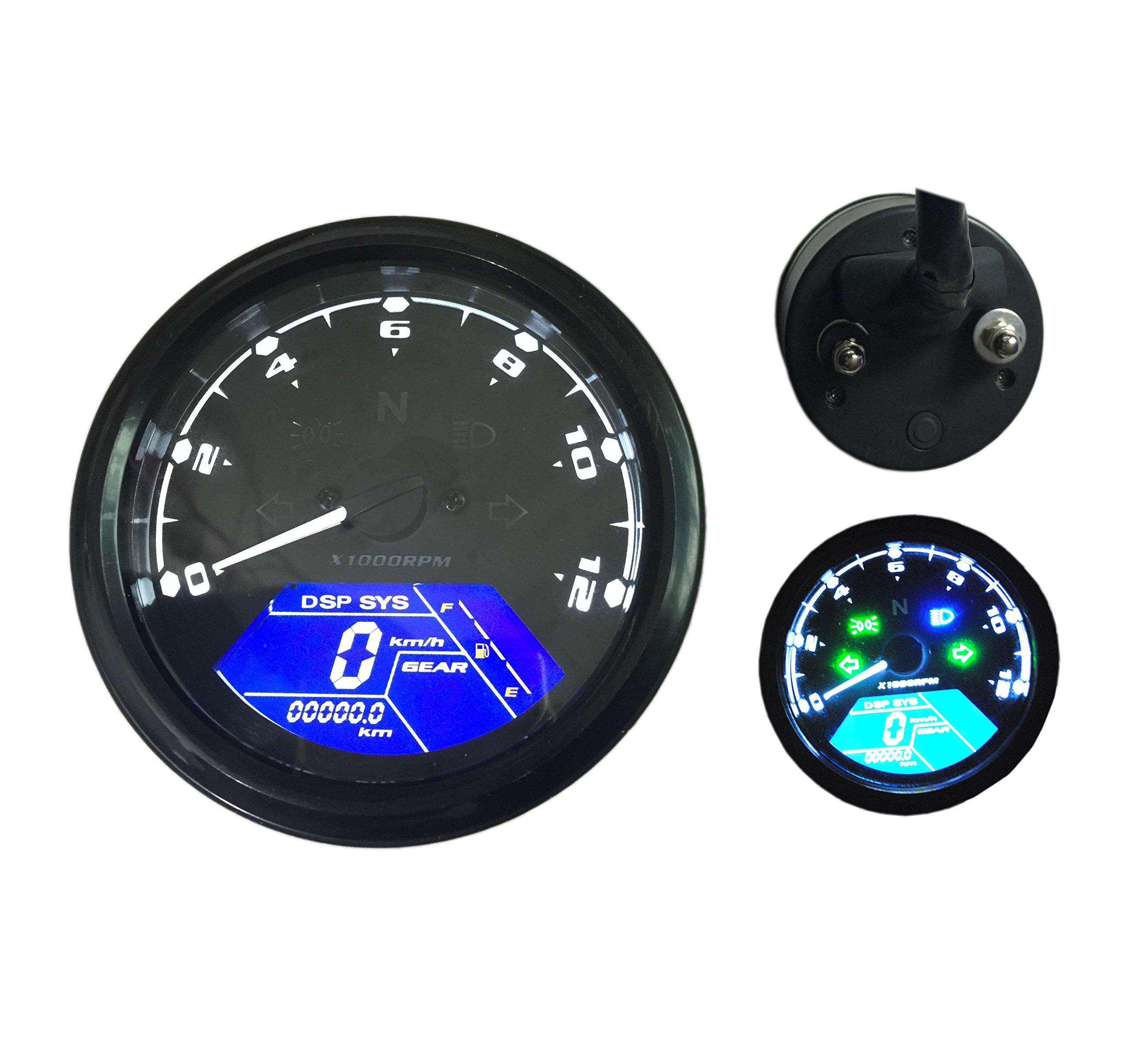 Sican LCD Speedometer Odometer Tachometer Motorcycle Motor Bike 1,2,4 Cylinders