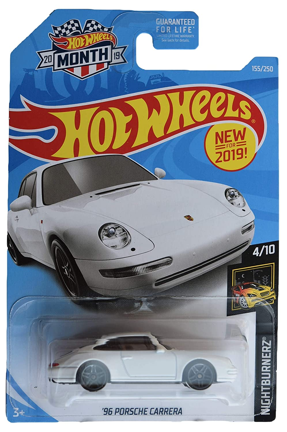 Hot Wheels Nightburnerz 4//10 96 Porsche Carrera 155//250 2019 Month Card White