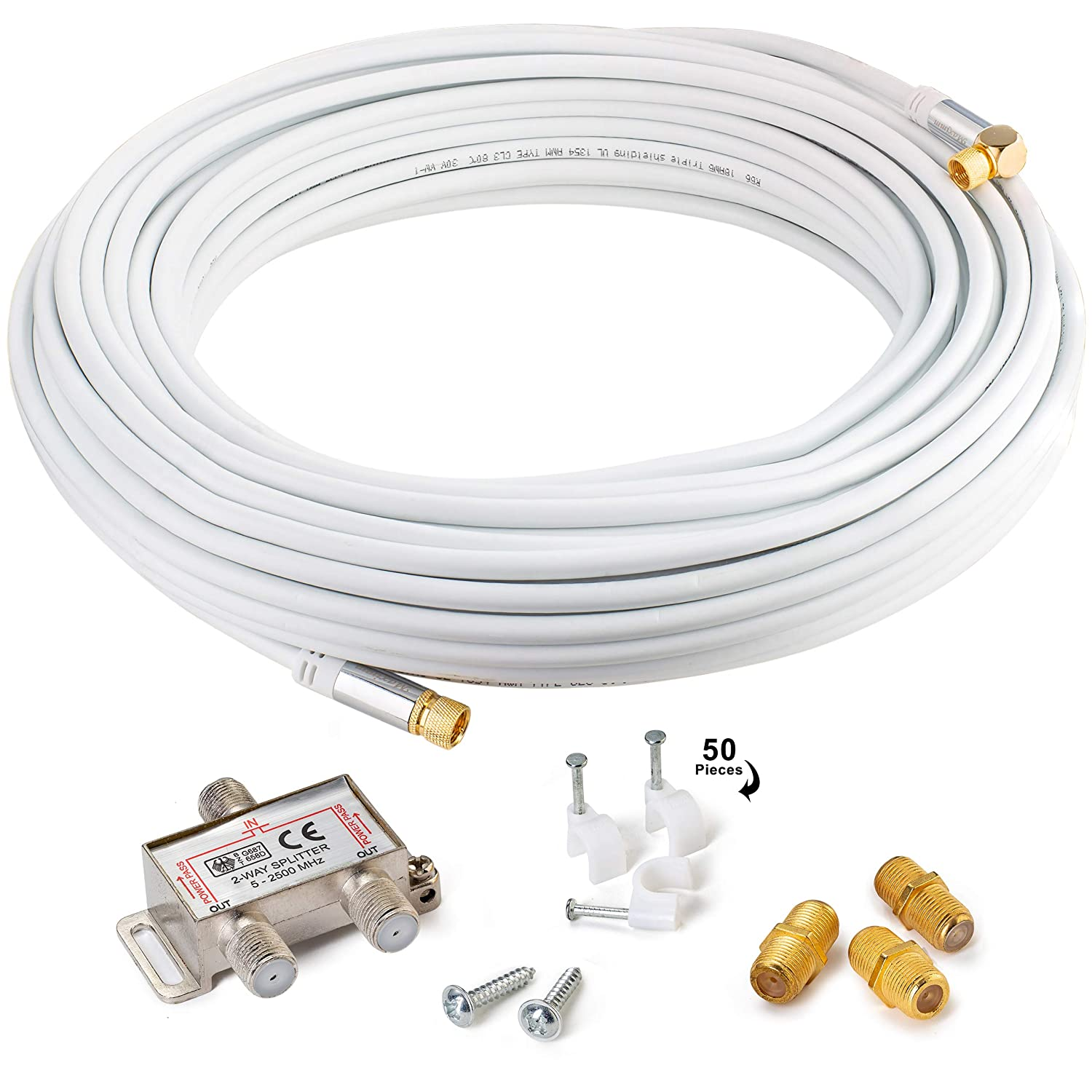 Maximm Cable coaxial Recto a Angular, 75 pies, Blanco, RG6 F ...