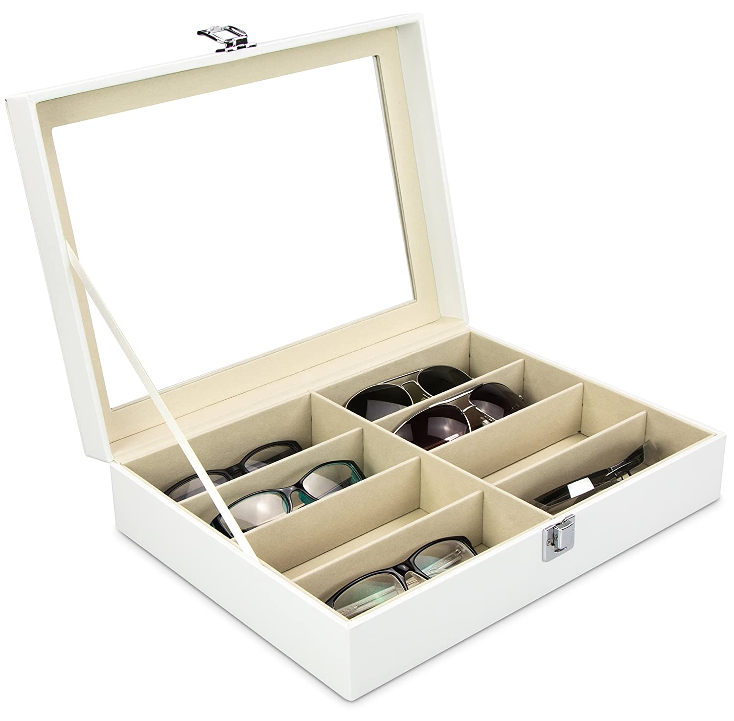 Glasses Box for 8 Spectacles - White 34 x 25 x 8 cm - Display Organizer for Storage and Presentation - Grinscard Venkon