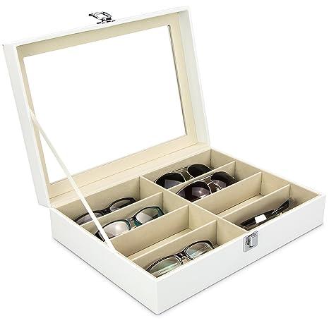 Grinscard Caja de anteojos para almacenar 8 anteojos - Blanco 34 x 25 x 8 cm - Gafas de Sol Presentación Gafas Pantalla