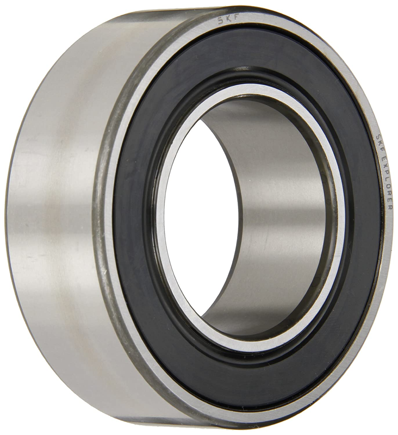 SKF Explorer 32 A Series Double Row Angular Contact Ball Bearing, 30° Contact Angle, Double Sealed, Sheet Steel Cage, Normal Clearance, P6 Precision