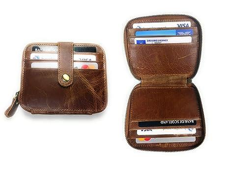 KGM Accessories - Cartera de Piel con Cierre de Cremallera para Tarjetas de identificación por radiofrecuencia