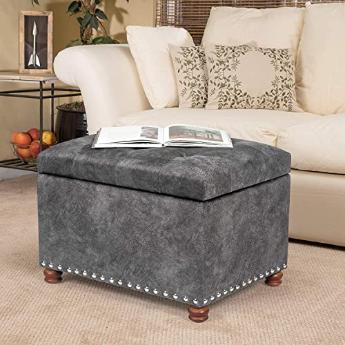 Joveco Grey Storage Ottoman Tufted Rectangular Bench Foot Rest for Living Room Bedroom Gray