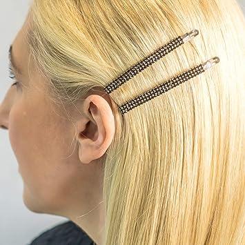 Two Gold Hair Slides Hair Clip Hair Grip Pins With White Diamanté Rhinestones
