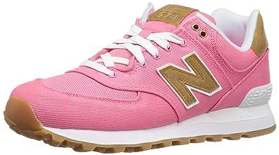 New Balance Women\u0027s WL574 Canvas Pack Sneaker, Solar Pink/Beeswax, ...