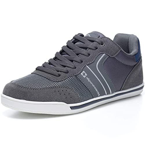3f833395ae2 alpine swiss Liam Mens Fashion Sneakers Suede Trim Low Top Lace Up Tennis  Shoes