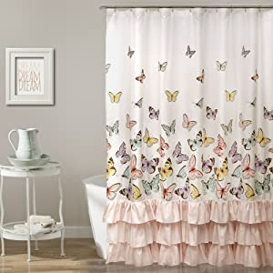 Lush Decor, Pink Flutter Butterfly Shower Curtain | Textured Ruffle Print Fabric Bathroom Decor, x 72