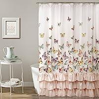 "Lush Decor Flutter Butterfly Shower Curtain | Textured Ruffle Print Fabric Bathroom Decor, x 72"", Pink"