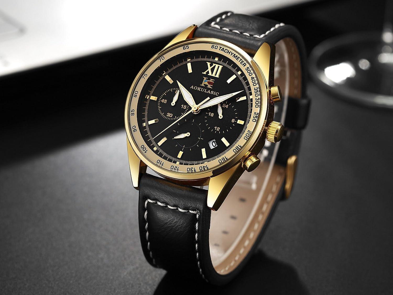 Aokulasic Homme Mode chronographe à Quartz étanche Montre Bracelet avec Particulier Multifonction Sub-dials Or Noir