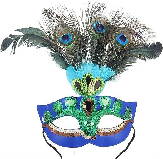 PAWACA Lady de la mascarada máscara – máscara de plumas de pavo ...