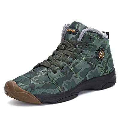 Mishansha Mens Womens Winter Snow Boots Fur Warm Outdoor Water Resistant Slip On Casual Walking Camo Ankle Shoes | Snow Boots