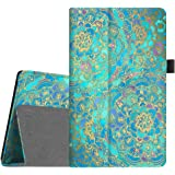 Fintie Folio Case for Amazon Fire HD 8 (Previous Generation - 6th) 2016 release - Slim Fit Premium Vegan Leather Standing Protective Cover With Auto Wake / Sleep, Shades of Blue