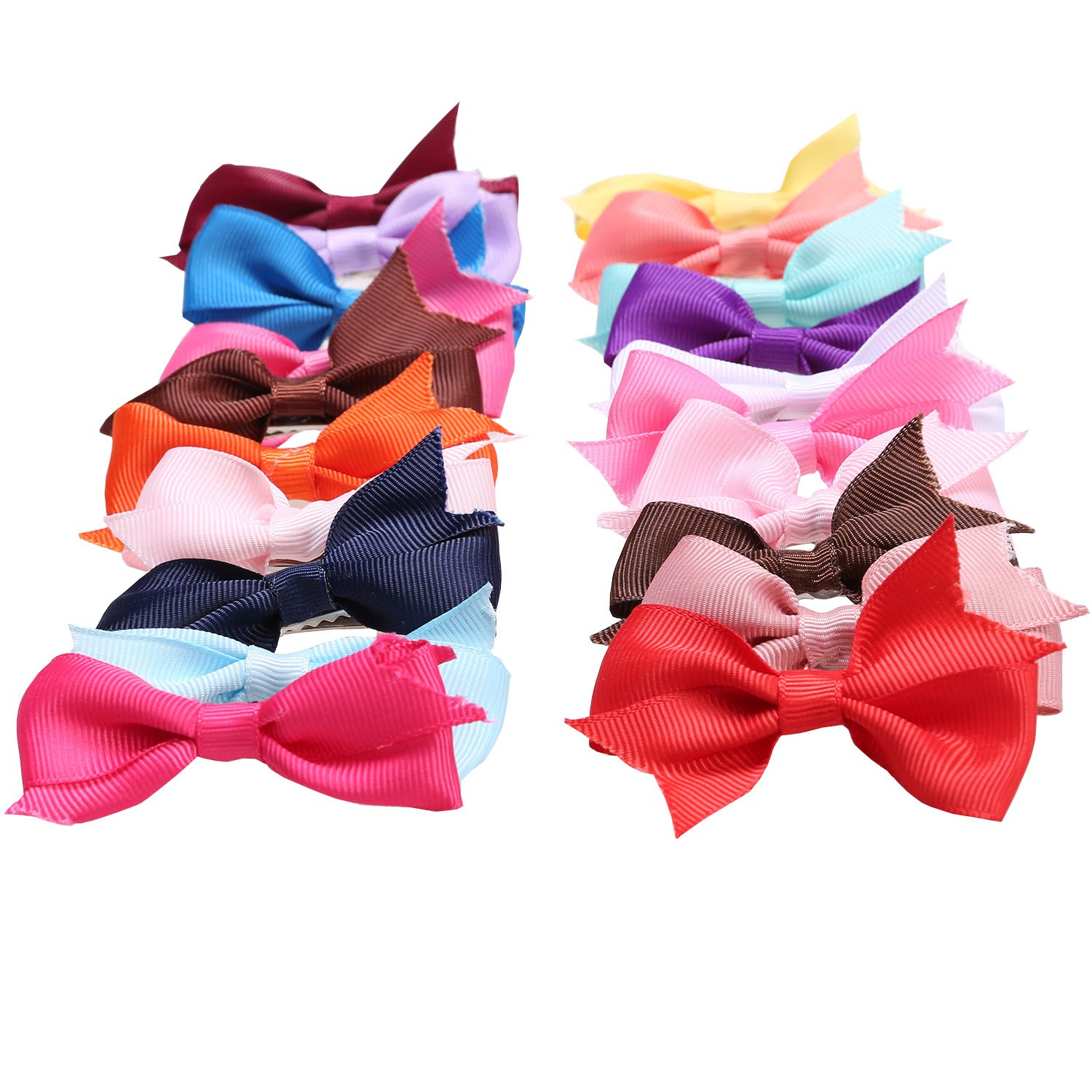 20 Hair Bows Clips for Toddlers Kids, Ribbon Boutique Hair Bows Clips Mini Pinwheel For Baby Girls