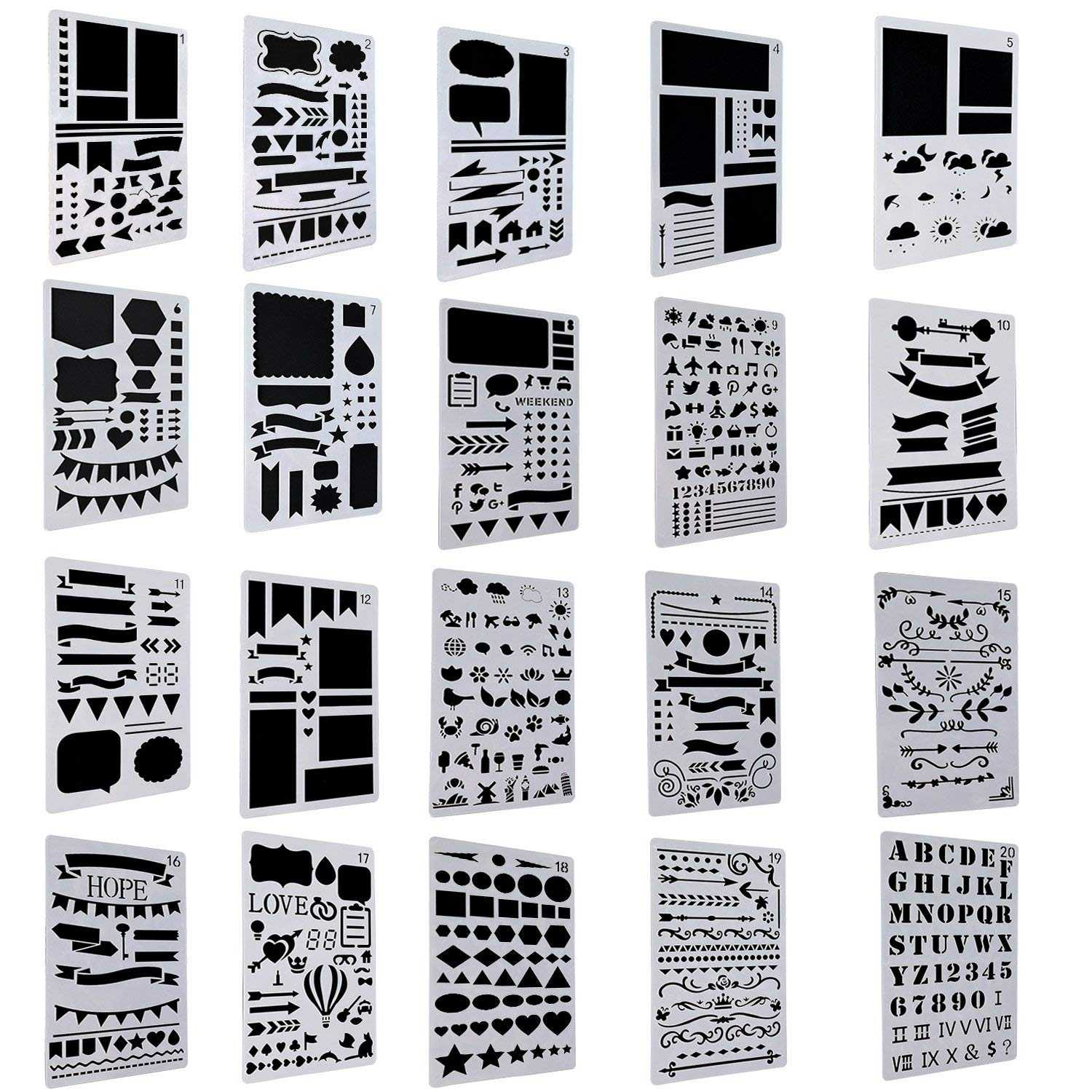 Drawing Stencils Art Set for Office and School Journaling Diary Scrapbooking Art 20 Pack Bullet Journal Stencil Set,Buluri DIY Drawing Template Stencil Card and Craft Projects