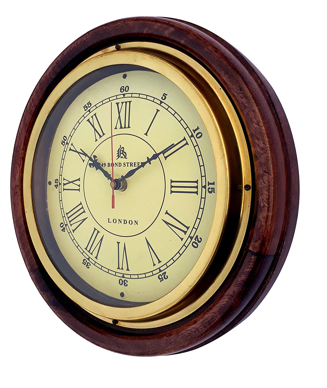 Amazon.com: Elegant Home Décor Mango Wood and Brass Wall Clock (12 ...