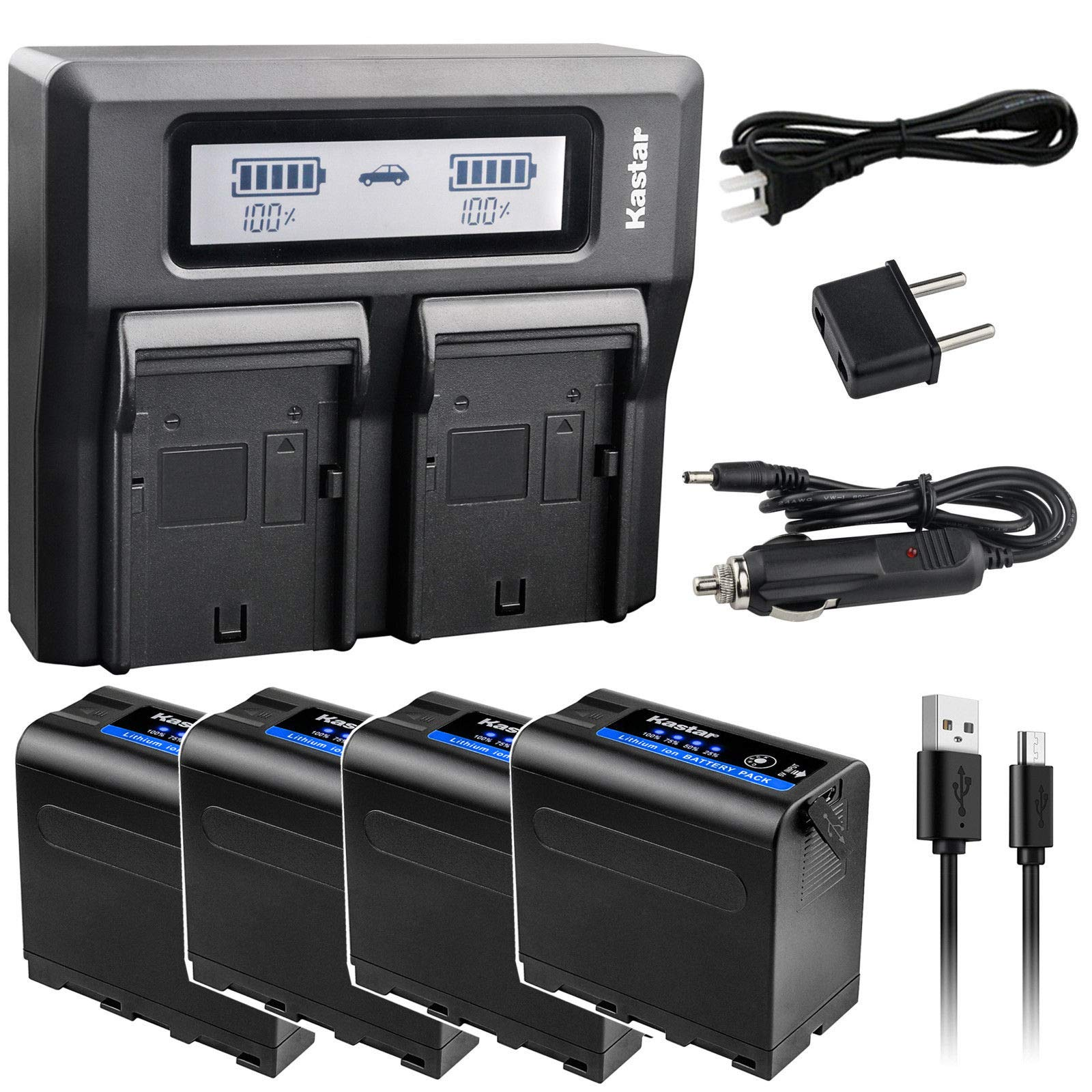 Kastar 4 Pack Battery and LCD Dual Fast Charger for Sony NP-F980 Pro NP-F970 MVC-CD1000 MVC-CD400 MVC-CHF81 MVC-CKF81 MVC-FD100 MVC-FD200 MVC-FD5 MVC-FD51 MVC-FD7 MVC-FD71 MVC-FD73 MVC-FD75 MVC-FD81