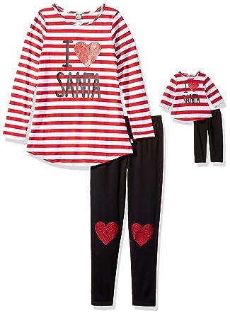 57284df3eb15 Amazon.com  Dollie   Me Girls  Big Love Santa Striped Legging Set ...