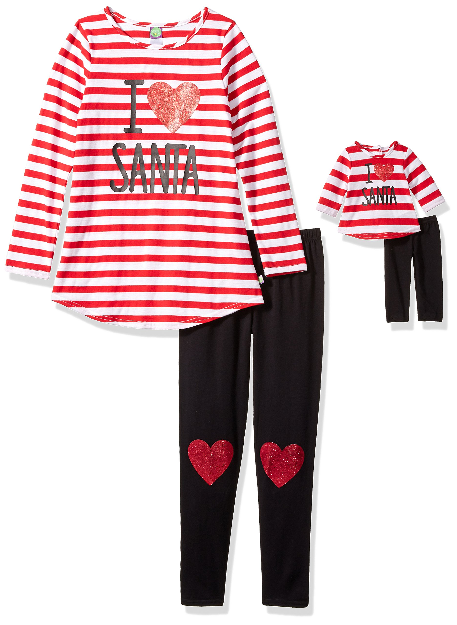 Dollie & Me Big Girls' I Love Santa Striped Legging Set and Matching Doll Outfit, Red/White/Black, 14