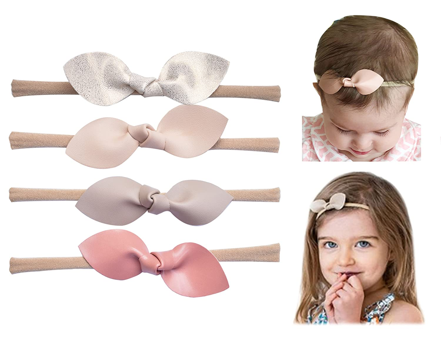 California Tot Rabbit Ears Faux Leather Bow-Stretch Headbands for Baby Toddler Girls Set of 4