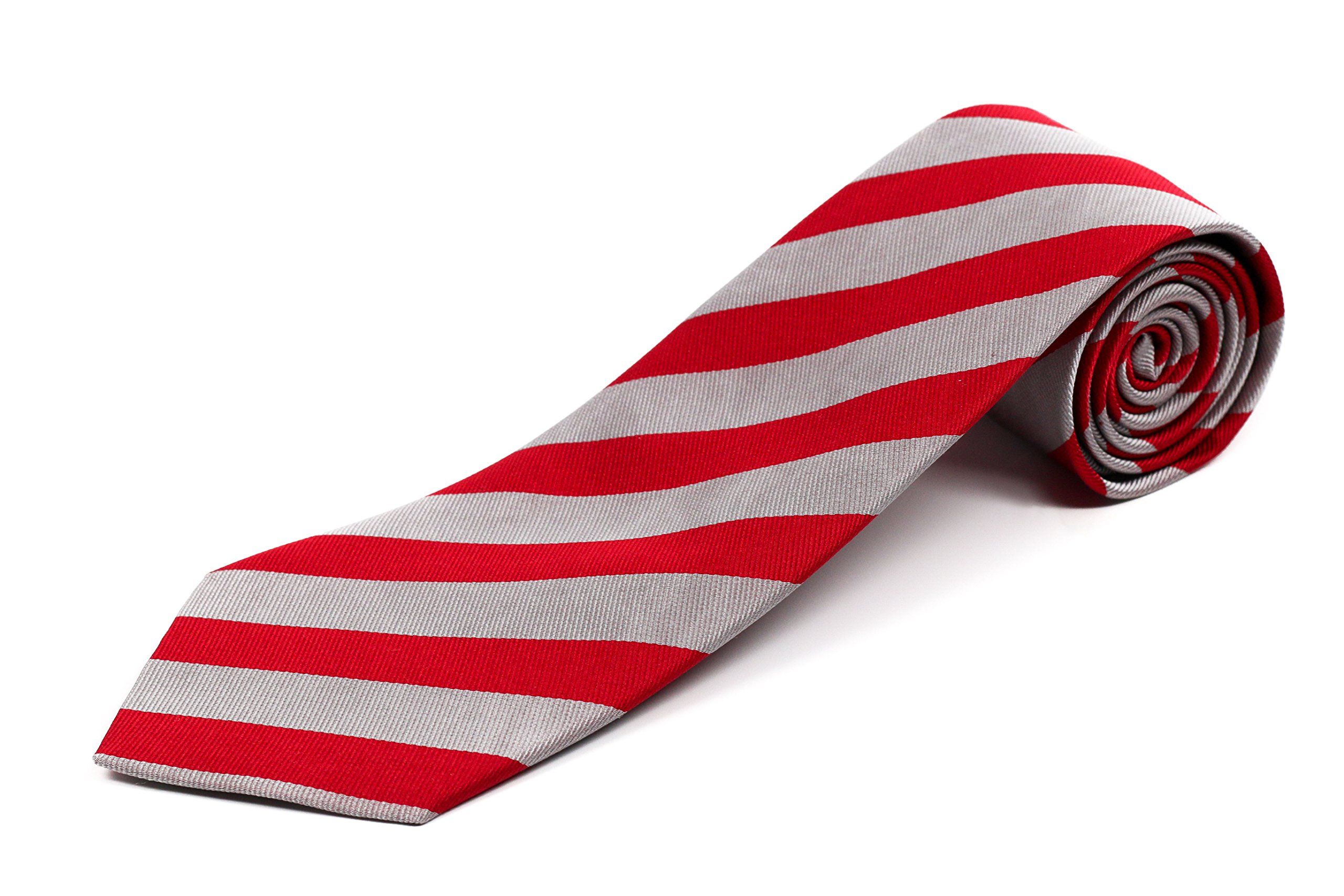 100% Silk Extra Long Wide Silver and Red Striped Silk College Tie for Tall Men, 63 Inches Long, Traditional 3.75 Inch Width