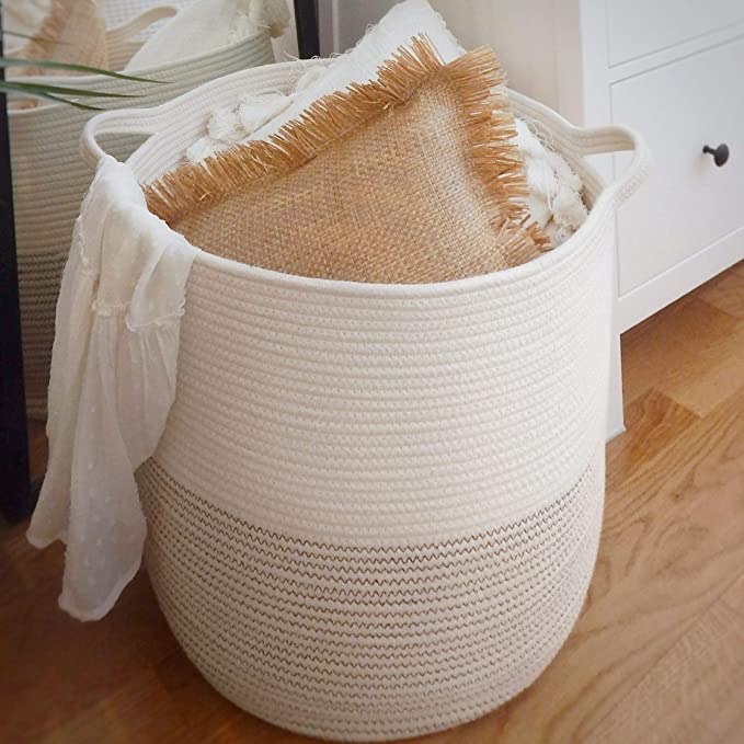 Books and Baby Blankets Toys Soft Woven Large Basket with Handles,Extra Large Basket and Organizer for Laundry RUNKA Extra Large Storage Basket 22 x 14