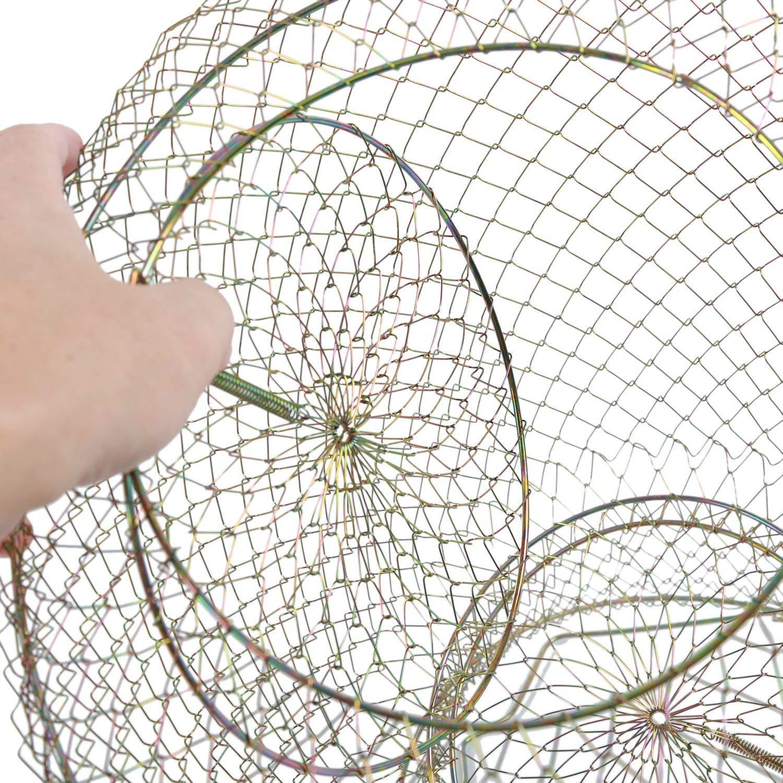 RETYLY 15,7 Pouces de Hauteur Ton dor Pliant Conception de Printemps 3 Couches P/êche en Cage de Poisson Garder Net pour P/êcheur