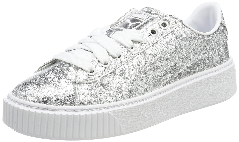 Puma Basket Platformglitter, Zapatillas para Mujer 37.5 EU Gris (Silver-silver)