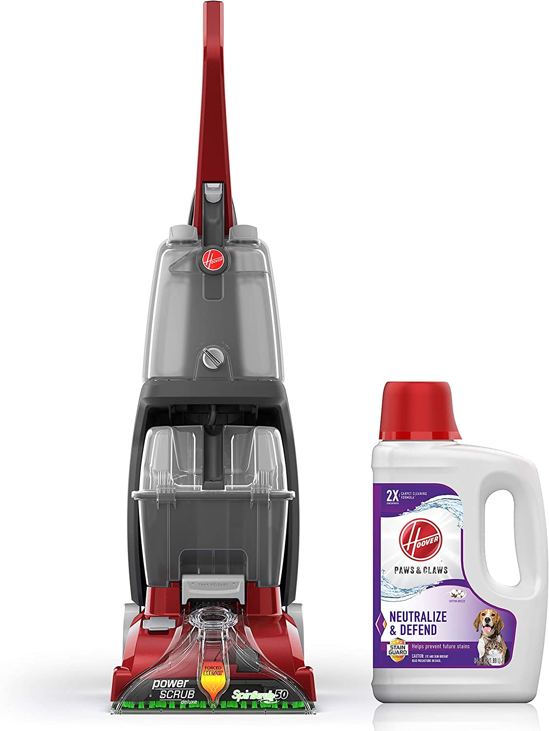 Hoover Power Scrub Deluxe Carpet Washer with Paws & Claws Carpet Cleaning Solution with Stainguard (64 oz), FH50150, AH30925